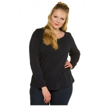 Ulla Popken Damen  Basic-Shirt, Knopfleiste, Regular, Rundhalsausschnitt, marine, Gr. 58/60, Mode in großen Größen