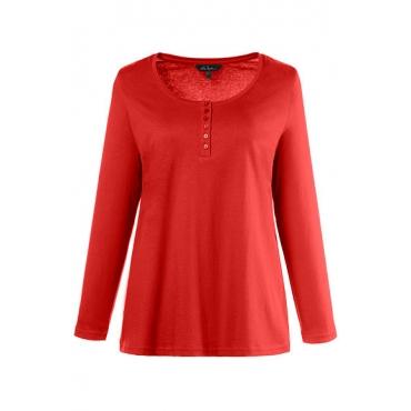Ulla Popken Damen  Basic-Shirt, Knopfleiste, Regular, Rundhalsausschnitt, orangerot, Gr. 58/60, Mode in großen Größen