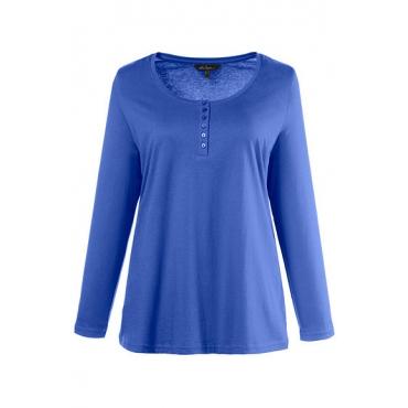 Ulla Popken Damen  Basic-Shirt, Knopfleiste, Regular, Rundhalsausschnitt, royalblau, Gr. 58/60, Mode in großen Größen