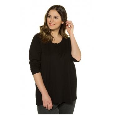 Ulla Popken Damen  Basic-Shirt, Knopfleiste, Regular, Rundhalsausschnitt, schwarz, Gr. 58/60, Mode in großen Größen
