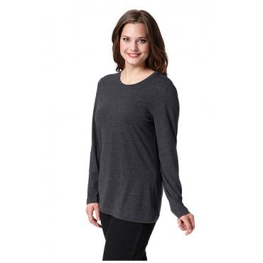 Ulla Popken Damen  Basic-Shirt, Rundhalsausschnitt, Slim, Baumwolle, anthrazit-melange, Gr. 58/60, Mode in großen Größen
