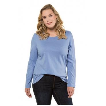 Ulla Popken Damen  Basic-Shirt, Rundhalsausschnitt, Slim, Baumwolle, blau, Gr. 54/56, Mode in großen Größen