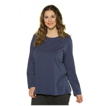 Ulla Popken Damen  Basic-Shirt, Rundhalsausschnitt, Slim, Baumwolle, blauviolett, Gr. 50/52, Mode in großen Größen