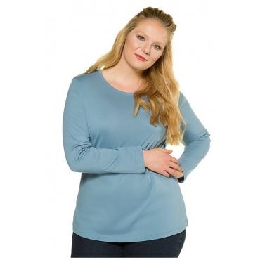 Ulla Popken Damen  Basic-Shirt, Rundhalsausschnitt, Slim, Baumwolle, hellgrau-blau, Gr. 46/48, Mode in großen Größen