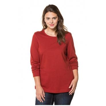 Ulla Popken Damen  Basic-Shirt, Rundhalsausschnitt, Slim, Baumwolle, henna, Gr. 58/60, Mode in großen Größen
