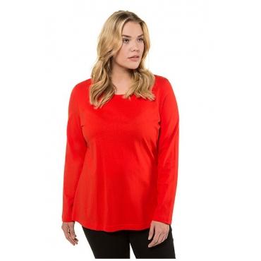 Ulla Popken Damen  Basic-Shirt, Rundhalsausschnitt, Slim, Baumwolle, orangerot, Gr. 58/60, Mode in großen Größen