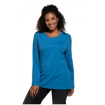 Ulla Popken Damen  Basic-Shirt, Rundhalsausschnitt, Slim, Baumwolle, polarblau, Gr. 58/60, Mode in großen Größen