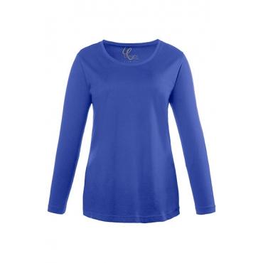 Ulla Popken Damen  Basic-Shirt, Rundhalsausschnitt, Slim, Baumwolle, royalblau, Gr. 58/60, Mode in großen Größen
