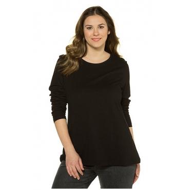 Ulla Popken Damen  Basic-Shirt, Rundhalsausschnitt, Slim, Baumwolle, schwarz, Gr. 58/60, Mode in großen Größen
