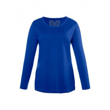 Ulla Popken Damen  Basic-Shirt, Rundhalsausschnitt, Slim, Baumwolle, stahlblau, Gr. 58/60, Mode in großen Größen