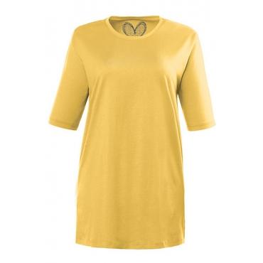 Ulla Popken Damen  Basic-T-Shirt, Rundhalsausschnitt, Relaxed, Baumwolle, sonnengelb, Gr. 58/60, Mode in großen Größen