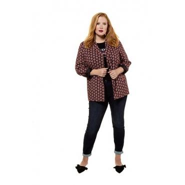 Studio Untold Damen  Blazer, gemustert, Revers, Langarm, schwarz, Gr. 54, Mode in großen Größen