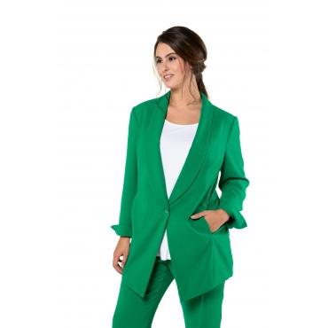 Ulla Popken Damen  Blazer, Japan-Qualität, Schalkragen, selection, grün, Gr. 60, Mode in großen Größen