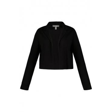 Ulla Popken Damen  Bolerojacke, Reverskragen, offene Form, Jersey, schwarz, Gr. 58/60, Mode in großen Größen