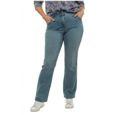 Ulla Popken Damen  Bootcut-Jeans Marie, helle Waschung, Komfortbund, light blue, Gr. 62, Mode in großen Größen