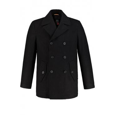 JP1880 Herren  Cabanjacke, hochwertige Woll-Qualität, Reverskragen, schwarz, Gr. XXL, Mode in großen Größen