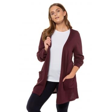 Ulla Popken Cardigan Damen, aubergine, Baumwolle, Mode in großen Größen
