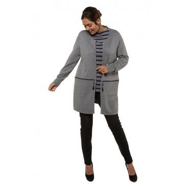 Ulla Popken Damen  Cardigan, Doubleface-Strick, Longform, selection, mittelgrau-melange, Gr. 58/60, Mode in großen Größen