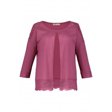 Ulla Popken Damen  Cardigan, Spitze, 3/4-Arm, Jersey, Biobaumwolle, rotviolett, Gr. 58/60, Mode in großen Größen