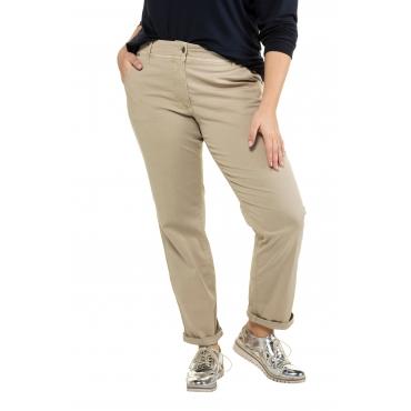 Ulla Popken Damen  Chinohose , konisches Bein, krempelbar, sandkorn, Gr. 62, Mode in großen Größen