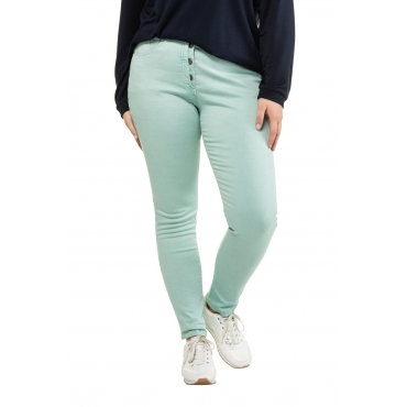 Ulla Popken Damen  Curvy-Jeans, halb sichtbare Knopfleiste, 5-Pocket, hell-mint, Gr. 62, Mode in großen Größen