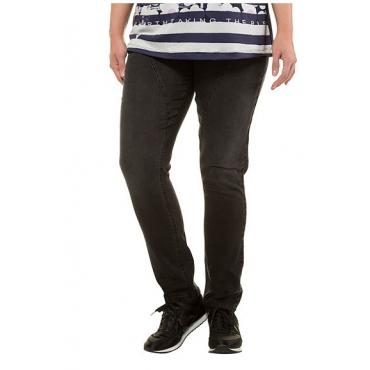 Ulla Popken Damen  Curvy-Jeans, Stickerei, Teilungsnähte, Komfortbund, schwarz, Gr. 62, Mode in großen Größen