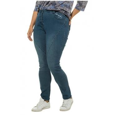 Ulla Popken Damen  Curvy-Jeans, Ziernähte, Blütenstickerei, Komfortbund, blue denim, Gr. 62, Mode in großen Größen