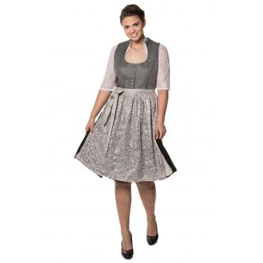 Ulla Popken Dirndl Damen, schwarz/grau, Polyester, Mode in großen Größen