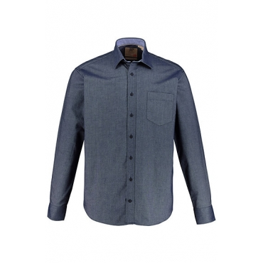 JP1880 Herren  Hemd, Denim-Optik, Kentkragen, Modern Fit, blue, Gr. XXL, Mode in großen Größen