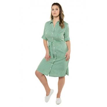 Ulla Popken Damen  Hemdblusenkleid, Streifen, durchgehende Knopfleiste, Gürtel, blattgrün, Gr. 60, Mode in großen Größen