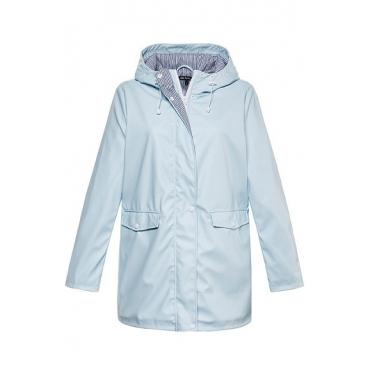 Ulla Popken Damen  Jacke, beschichtet, längere Form, Kapuze, eisblau, Gr. 50/52, Mode in großen Größen