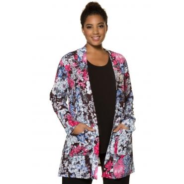 Ulla Popken Jacke Damen, schwarz-blumig, Polyester, Mode in großen Größen