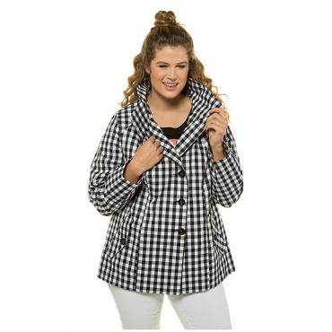 Ulla Popken Damen  Jacke, hoher Stehkragen, leichte Qualität, schwarz-weiß, Gr. 58/60, Mode in großen Größen