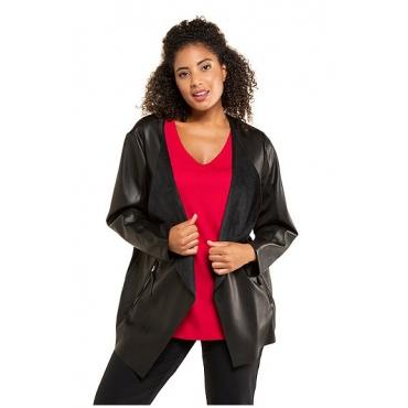 Ulla Popken Damen  Jacke, Lederimitat, offene Form, Jersey-Innenseite, schwarz, Gr. 62, Mode in großen Größen
