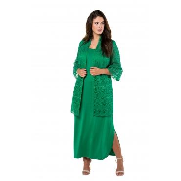 Ulla Popken Damen  Jacke, transparente Spitze, teils gefüttert, selection, grün, Gr. 60, Mode in großen Größen