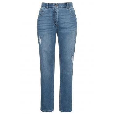Ulla Popken Damen  Jeans Mona, Destroy-Effekt, konisches Bein, Komfortbund, blue denim, Gr. 62, Mode in großen Größen