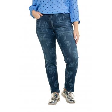 Ulla Popken Damen  Jeans Sammy, Lasercut-Blütenmuster, schmales Bein, blue denim, Gr. 62, Mode in großen Größen