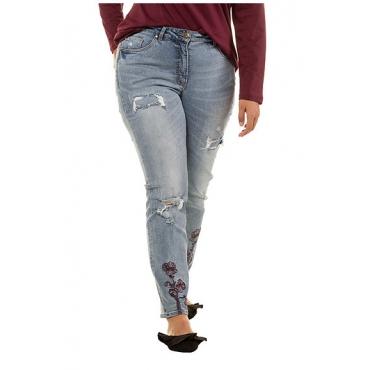 Studio Untold Damen  Jeans, Blüten-Stick, destroyed, 5-Pocket, gerade Form, blue denim, Gr. 54, Mode in großen Größen