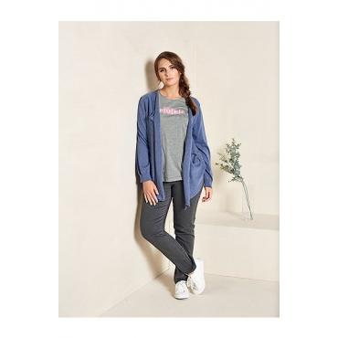 Ulla Popken Damen  Jeans, gerades Bein, Stretchdenim, 5-Pocket, PURE, grau denim, Gr. 56, Mode in großen Größen