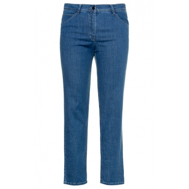 Ulla Popken Damen  5-Pocket Jeans, gerades Bein, Stretchdenim, light blue, Gr. 58, Mode in großen Größen