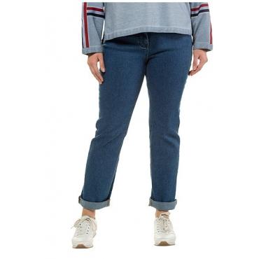 Ulla Popken Damen  Jeans Mandy, gerades Bein, 4-Pocket-Form, Komfortbund, blue, Gr. 62, Mode in großen Größen