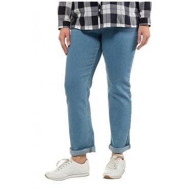 Ulla Popken Damen  Jeans Mandy, gerades Bein, 4-Pocket-Form, Komfortbund, light blue, Gr. 62, Mode in großen Größen