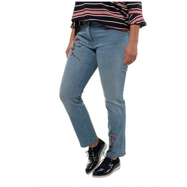 Ulla Popken Damen  Jeans Sammy, Kirschblütenmotiv, schmales Bein, light blue, Gr. 62, Mode in großen Größen