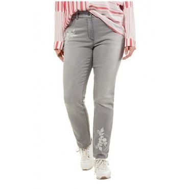 Ulla Popken Damen  Jeans Sammy, Stickerei, schmales Bein, Zierperlen, grey, Gr. 62, Mode in großen Größen