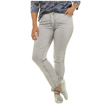 Ulla Popken Damen  Jeans Sammy, Trendfarbe, schmales Bein, Knitterfalten, light grey, Gr. 62, Mode in großen Größen