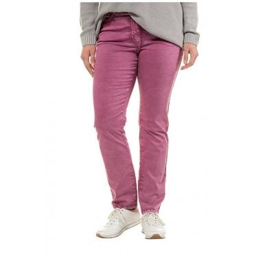 Ulla Popken Damen  Jeans Sammy, Trendfarbe, schmales Bein, Knitterfalten, purpur-pink, Gr. 62, Mode in großen Größen