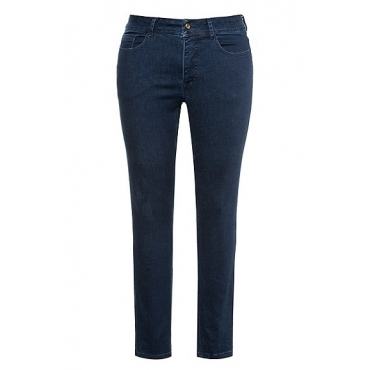 Ulla Popken Damen  Jeans Sarah, schmale 5-Pocket-Form, Stretch, blue denim, Gr. 62, Mode in großen Größen