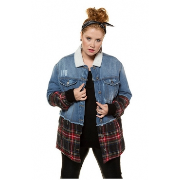 Studio Untold Damen  Jeansjacke, mit Karo gepatcht, mit Teddyfell geüttert, blue denim, Gr. 54, Mode in großen Größen