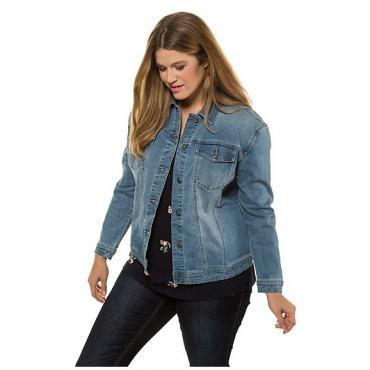 Ulla Popken Damen  Jeansjacke, Wascheffekte, Relaxed, Metallic-Knöpfe, light blue, Gr. 60, Mode in großen Größen