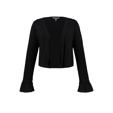 Ulla Popken Damen  Bolero, Rüschenärmel, offene Form, Jersey, schwarz, Gr. 58/60, Mode in großen Größen